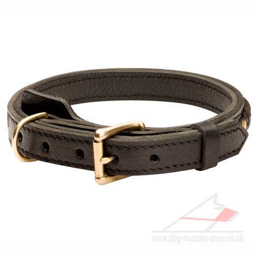 Braided Leather Dog Collar with Buckle