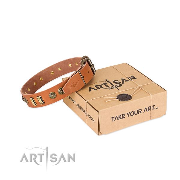 Gift Box Natural Leather Dog Collars