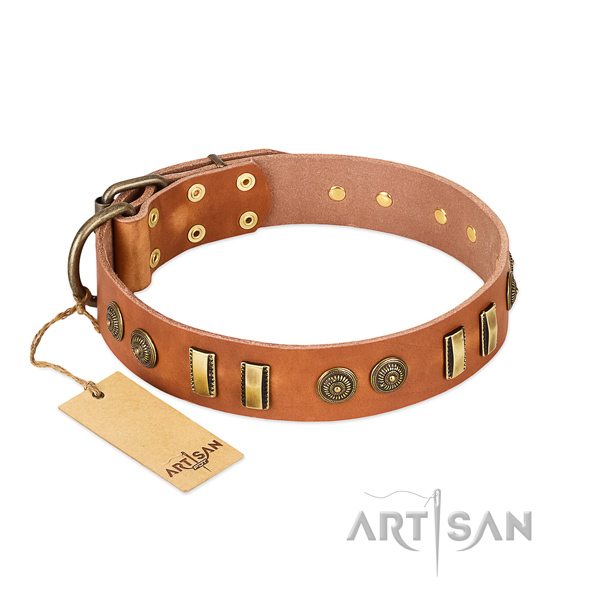 Natural Leather Dog Collars