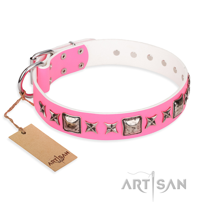 Pink Leather Dog Collar by FDT Artisan