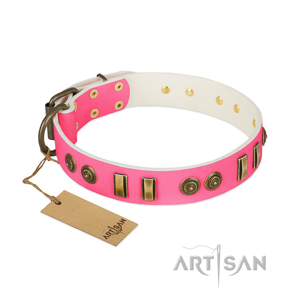 Pink Leather Dog Collar with Flowers