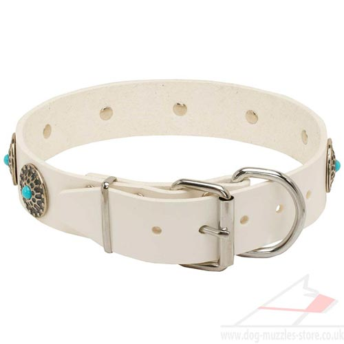 White Leather Dog Collars