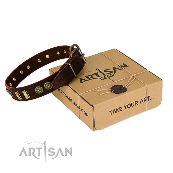 Gift  Box for Large Brown Leather Dog Collar