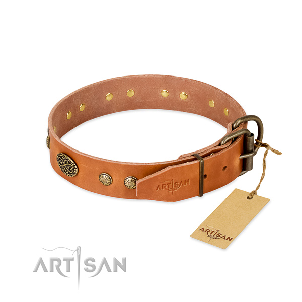 Leather Dog Collar D Ring