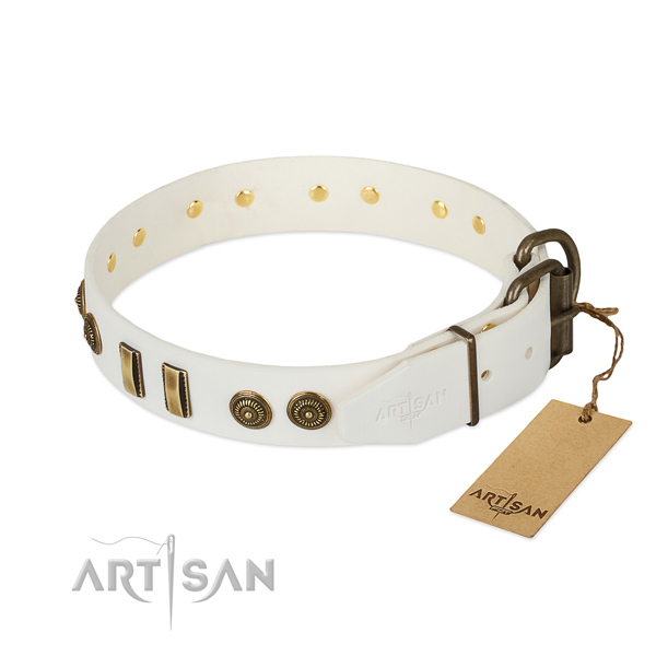 Buckle Thick White Leather Dog Collar