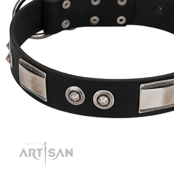 Artisan large wide leather dog collar