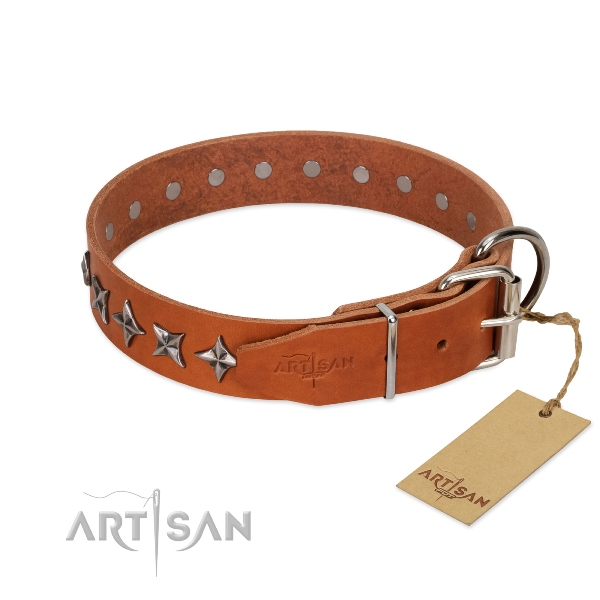 good quality dog collar with D-ring by Artisan
