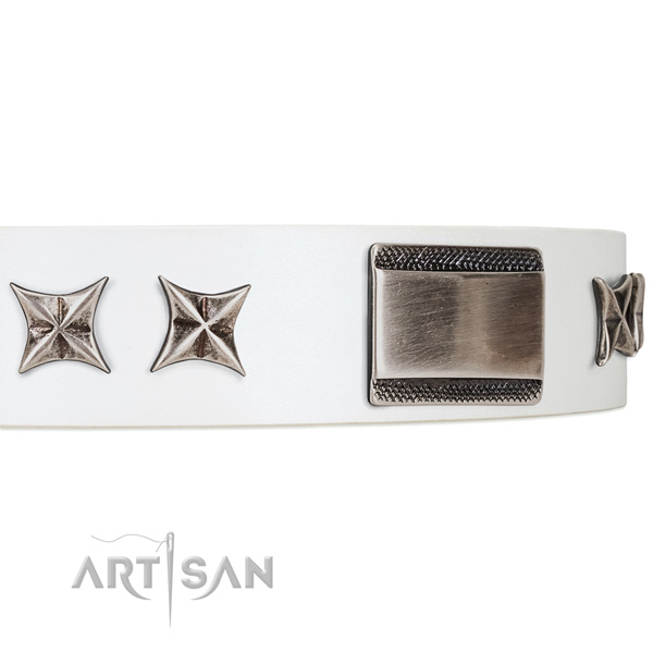 buy thick white dog collar Artisan