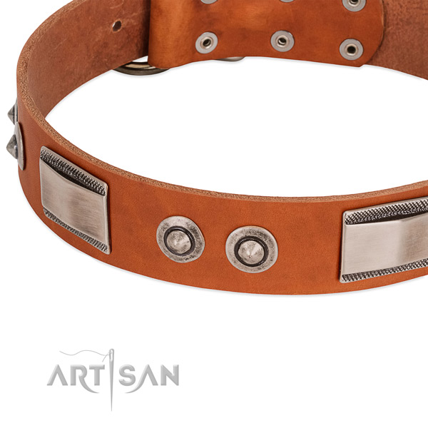 Artisan handmade leather dog collar