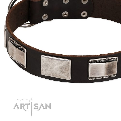 choose leather dog collars with D-ring Artisan online