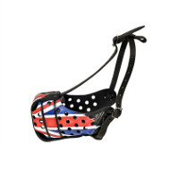 New Painted Leather Dog Muzzle K9 Special UK Union Jack Design