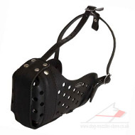 Leather Dog Muzzle for Attack, Agitation and Max Protection