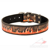 "Large Dog Collar Painted Natural Leather ""Flame\"""