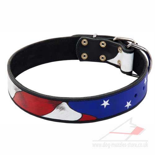 "Handcrafted Dog Collar with Hand-Painting ""American Pride\"""