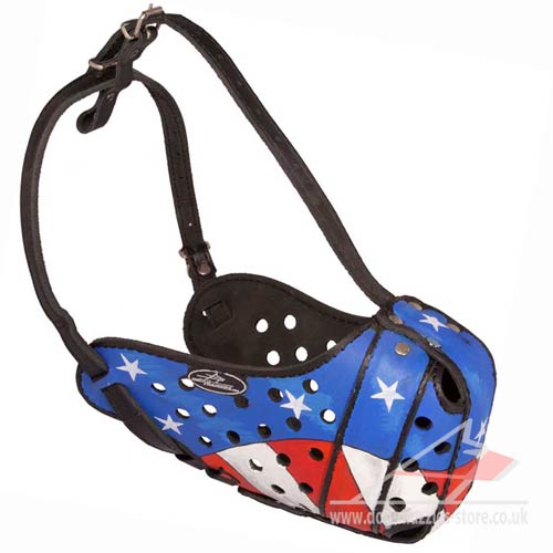 Leather Dog Muzzle Original Hand-Painted for K9 Dogs
