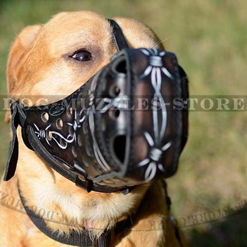 "Leather Basket Dog Muzzle with Painting ""Barbed Wire"" Labrador"