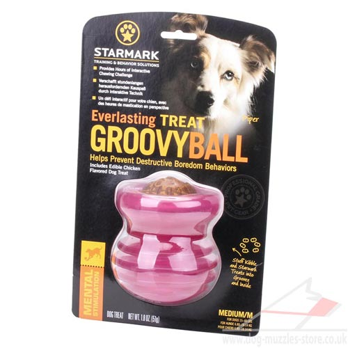Ridged Medium Dog Toy for Treats Dispensing, Pink Groovy Ball