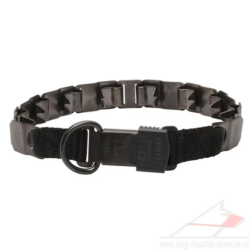 Matt Black Steel Dog Collar Neck Tech Sport by Herm Sprenger