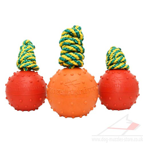 "Solid Rubber Ball on Rope Non Sinking for Water Games 2.4""(6 cm"
