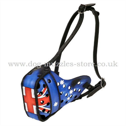 Max. Protection Dog Muzzle Painted with Australian Flag