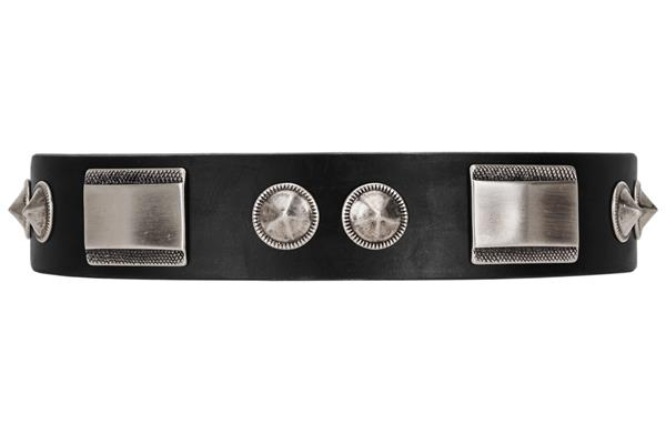 FDT Artisan Black Leather Dog Collar with Studs