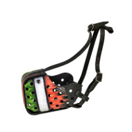 K9 Leather Dog Muzzle Exclusive Hand Painted Italian Style