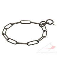 Dog Chain Collar with Long Links | Dog Choker Collar Black Steel