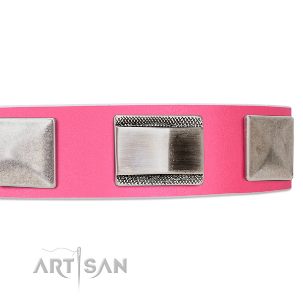 Artisan pink leather dog collar buy online