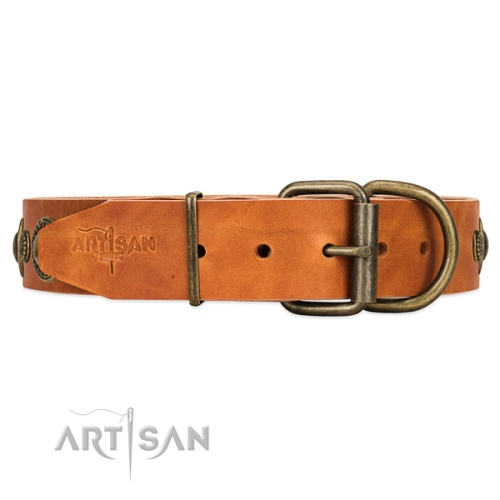soft leather dog collar Artisan online