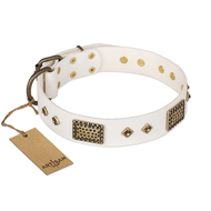 Best Leather Dog Collar FDT Artisan 'Snow-covered Gold'