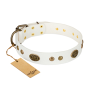 White and Gold Dog Collar FDT Artisan The Snow Queen