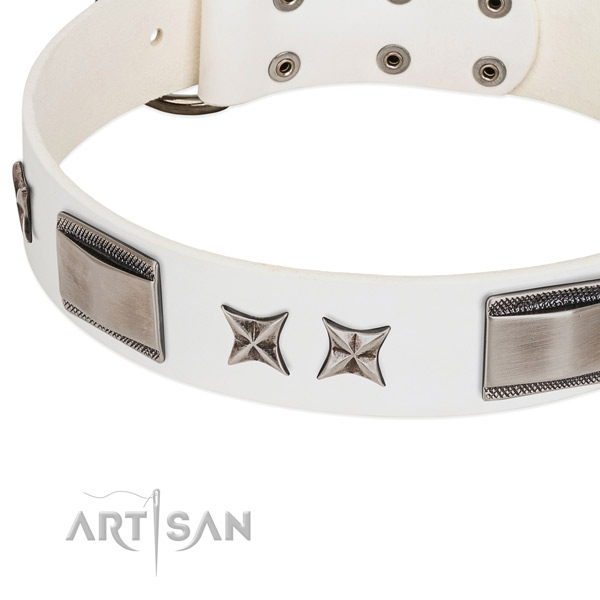 white leather studded dog collar from FDT Artisan online