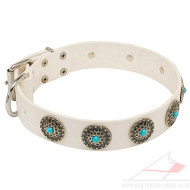 White Leather Dog Collar with Blue Stones | Royal Dog Collar
