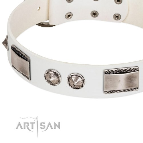 white leather studded dog collar Artisan